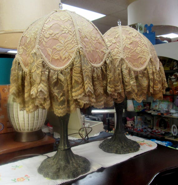 Pair of lamps art deco style with shades