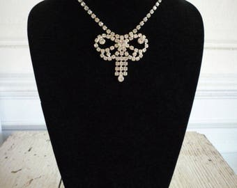 Vintage Large Bow Rhinestone Silver Tone Choker Necklace Bridal Wedding
