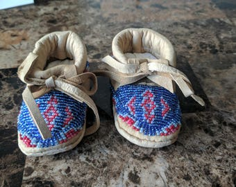 Handmade moccasins size 0-6 months