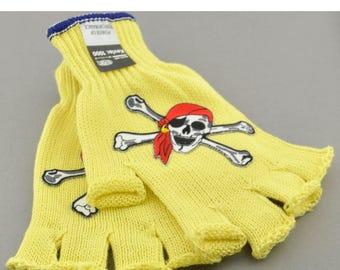 Kevlar Fingerless Gloves - Medium - Pirate Skulls and Rhinestones