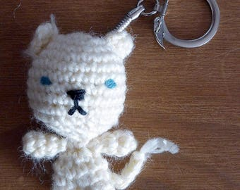 Keychain Animal feline - cat white
