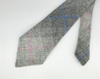 Grey check Harris tweed neck tie