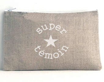 """Linen pouch natural inscription """"great witness"""""""