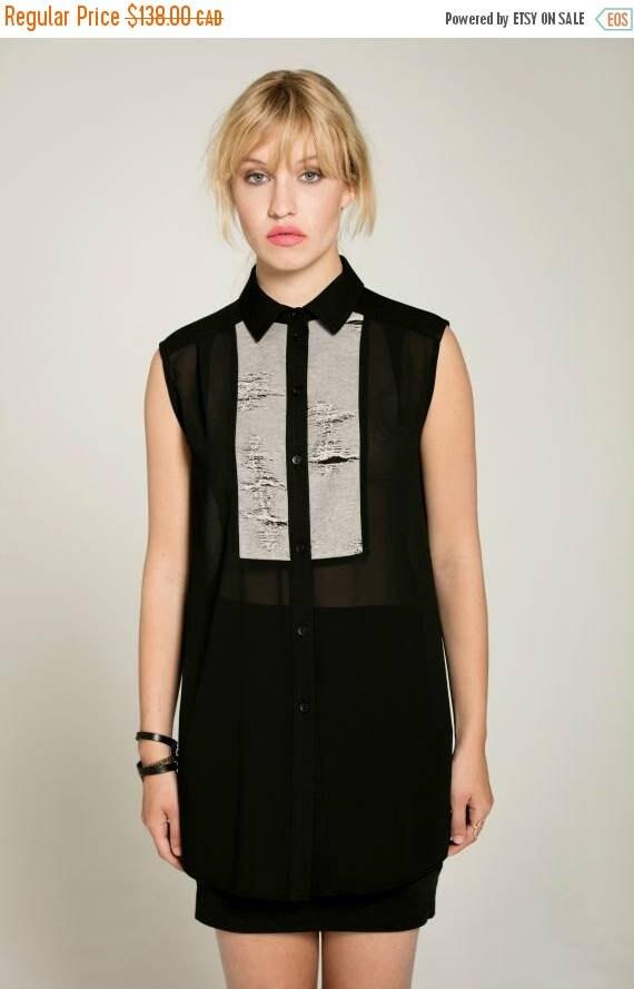 SOLDE NO ROMEO - sleeveless long, transparant shirt for women - black with ripped look like smoking, tuxedo
