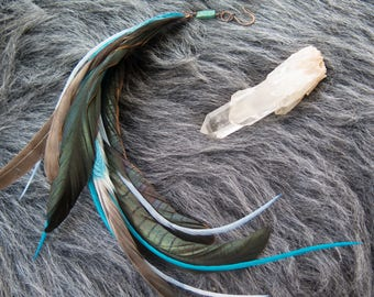 Whisps of Blue Single Feather Earring