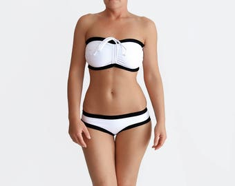 White Bikini, Black White Bikini, Bandeau Swimwear, Retro Bathing Suit, Plus Size Swimsuit, Bra Sized Bikini, White Bathing Suit