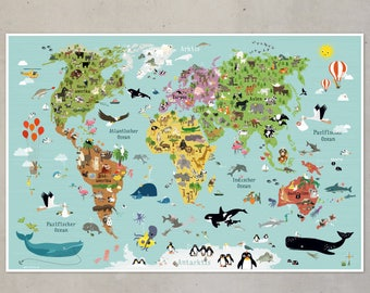 world map for children illustration animals poster picture