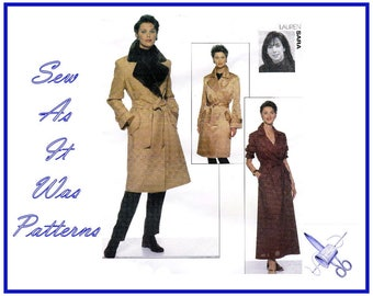 1990s FF Vogue Attitudes 2026 Sara Notched Collar Trench Coat Dress Double Breasted Tie Belt Sewing Pattern Sizes 12 14 16 Bust 34 36 38