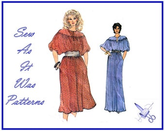 """1970s Vogue 8368 Loose Fitting Pullover Blouson Dress Puff Sleeves Evening Cocktail Neck Yoke Vintage Sewing Pattern Size 12 Bust 34"""" 87cm"""