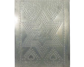 Star And Hearts Punch Tin Panel 10x14, Great Rustic Punched Tin Metal Panels  For Vintage