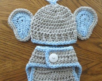 Crochet Baby Elephant Ears Hat, Diaper Cover, Photo Props, Shower Gift, Preemie, Newborn to 3 months, bringing home baby boy, baby girl