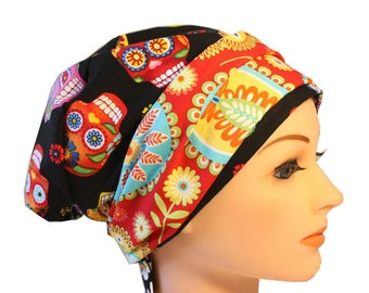 Scrub Hat Cap Chemo Bad Hair Day Hat  European BOHO Banded Pixie Tie Back Cantina Sugar Skulls Paisley Band 2nd Item Ships FREE