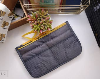 Travelers notebook pouch (bag in bag, travel kit , grey/yellow)