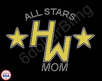 Custom Bling Glitter Transfers - HW All Stars Mom