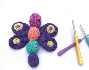Baby gift, crochet butterfly, baby rattle, teether toy, newborn rattle, new baby gift, teething toy, butterly plushie, unique baby gift