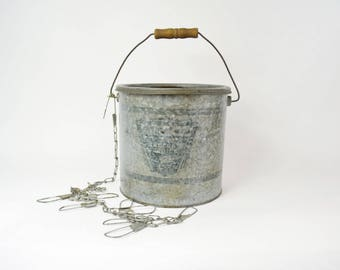 Vintage Minnow Bucket, Metal Bucket, Galvanized Steel Bucket, Angler's Bait Bucket, Fishing Equipment, Beach Décor, Bait Fishing Pail, Dad