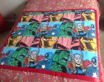 Handmade Classic Avengers Captain America Hulk Thor Iron Man Comic Book Heroes Fleece Throw Blanket