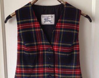 Vintage BURBERRY sz S/P Wool Waistcoat BURBERRYS Plaid Stewart Tartan Womens Vest Made In England