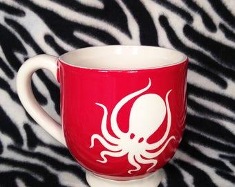 Red Octopus Coffee Cup Mug Handmade Hand Made OHIO USA Ceramic Pottery Tattoo