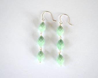 Faceted Mint Green Vintage Bead Sterling Silver Dangle Earrings