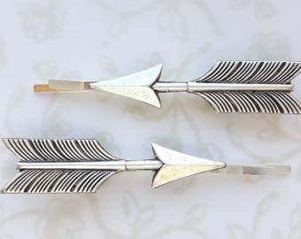 Silver Arrow hairpins, bobby pin set of 2, hair grips, Boho, Modern, Rustic, Woodland, Nature