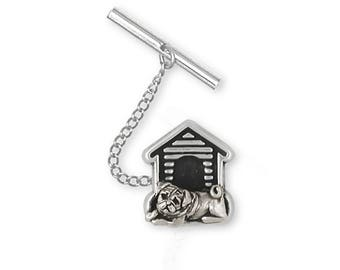 Pug Tie Tack Jewelry Sterling Silver Handmade Dog Tie Tack PG26-TT