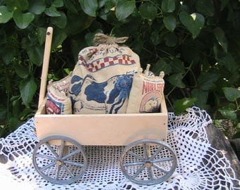 Wooden Wagon with Feed Bag Decor, Small Wood Wagon Decor + Free Gift
