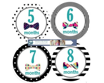 Monthly Baby Stickers, Month by Month Baby Milestones, Baby Month Stickers, New Baby Gift, Month Stickers Boy, Monthly Milestone Stickers