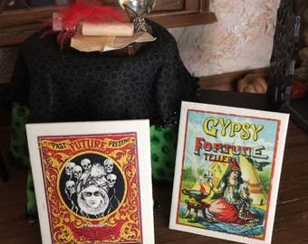 Choice of Gypsy Fortine Teller Sign, Prophecy Board or Past, Present Future Board For Your Halloween Scene, Haunted Dollhouse, or Gypsy Car