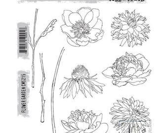 Tim Holtz FLOWER GARDEN Red Rubber Cling Stamps STAMPERS ANONyMOUS CMS215 cc11