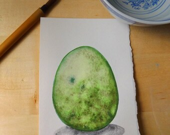 Mossy Rock Dragon Egg Watercolor Painting OOAK