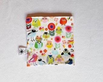 Zero waste sandwich bag bright mixed birds fabric, reusable sandwich bag, washable sandwich bag, reusable snack bag