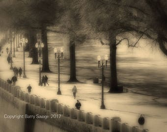 Tom McCall Waterfront Park in Portland Oregon-sepia black and white