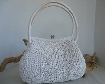 White Raffia Purse