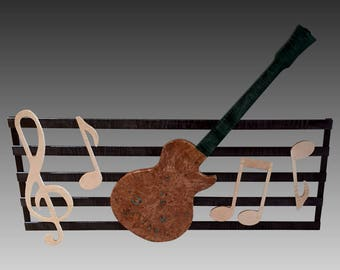 Musical Wall Hanging - Maple Burl Guitar / Turquoise Inlay