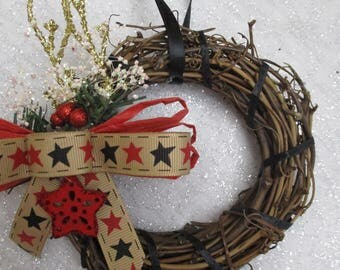 Americana Patriotic wreath Christmas ornament