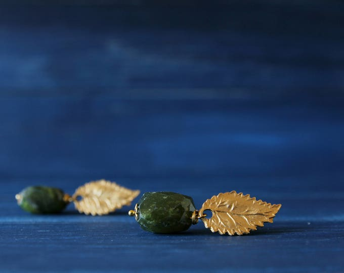 Peridot earrings, semiprecious stones jewelry