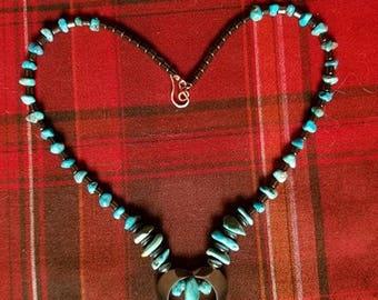Hematite Heart w/ Hematite & Turquoise Beads