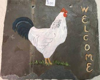 White Chicken Welcome Sign