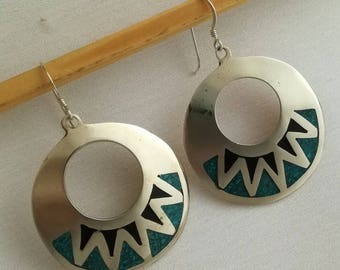 Turquoise, Art Deco Design, Vintage Earrings, 1980s, Sunburst, Hoop Earrings, Statement Jewellery, Made in Mexico, Sterling Silver Earwires