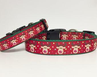 Christmas Reindeer Dog Collar - Holiday - Gift - Pet Gift - Dog Gift - Seasonal