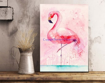 Flamingo, fine art, Giclee Watercolour Painting Print. Archival quality inks