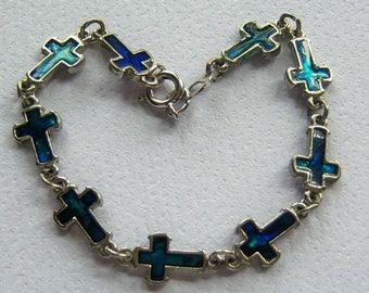 Blue Cross Bracelet. Cross Bracelet. Religious Bracelet. Christian Bracelet.