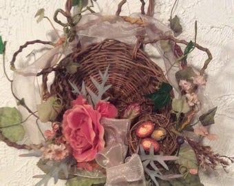 Grapevine Basket Flower Arrangement Birds nest & Eggs Hanging Wall Decor