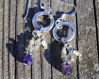 Amethyst and Labradorite Drop Earrings