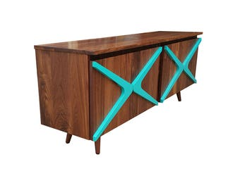 Mid Century Credenza With Boomerang Handles, TV Console, Media Cabinet, Record Cabinet, Bar Cabinet