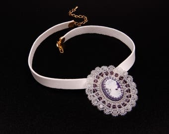 Bridal Cameo Beaded Choker,Embroidered Necklace,White,Lilac,Beadwork,Handmade Jewelry,For Her