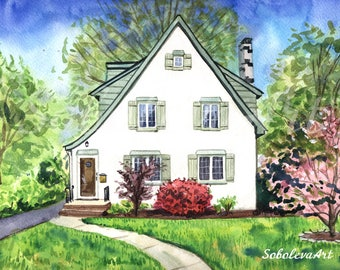Custom House Portrait Custom landscape Custom painting Landscape watercolor Custom watercolor Anniversary gift beach house architecture art