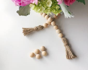 Wood Bead Garland Twine Tassels Natural Farmhouse Home Decor Country Living