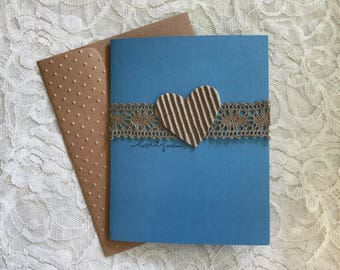 Greeting Card, Handmade, Blank Card, blue and brown, heart, love note
